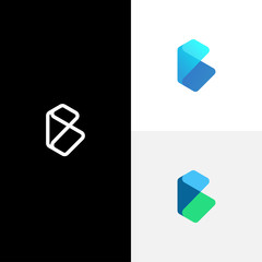 Letter B logo with monogram semi transparent and multicolor gradients concept. vector illustration