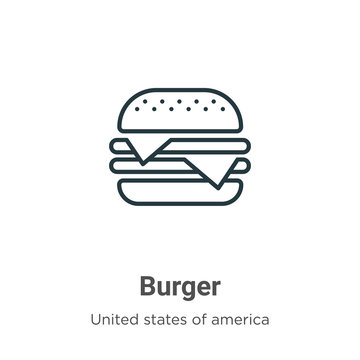 Burger outline vector icon. Thin line black burger icon, flat vector simple element illustration from editable united states concept isolated stroke on white background