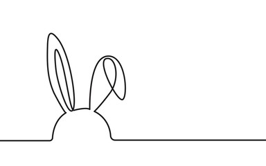 Continuous One Line Drawing Rabbit. Easter One Line Drawing. Minimalist Contour Bunny Illustration. Vector EPS 10.