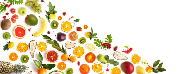 pattern of various fresh fruits isolated on white background, top view, flat lay. Composition of...