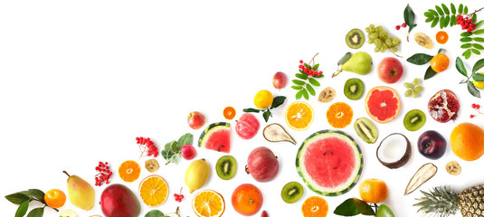 Fototapete - pattern of various fresh fruits isolated on white background, top view, flat lay. Composition of food, concept of healthy eating. Food texture.