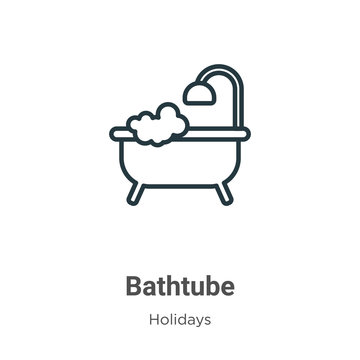 Bathtube outline vector icon. Thin line black bathtube icon, flat vector simple element illustration from editable holidays concept isolated stroke on white background