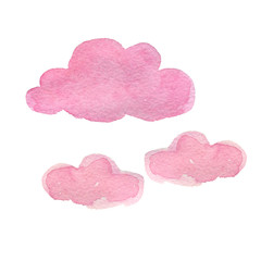 pink watercolor clouds poster for the nurser