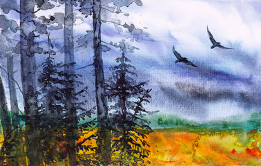 Fototapeten Watercolor illustration of a beautiful Russian forest with flying birds at summer sunset