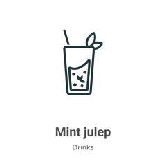 Mint julep outline vector icon. Thin line black mint julep icon, flat vector simple element illustration from editable drinks concept isolated stroke on white background