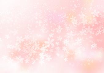桜ピンク色グラデーションとキラキラ光のイメージ背景