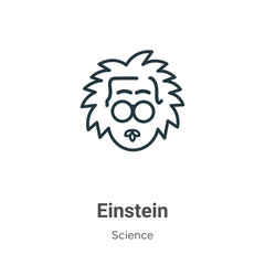 Einstein outline vector icon. Thin line black einstein icon, flat vector simple element illustration from editable science concept isolated stroke on white background