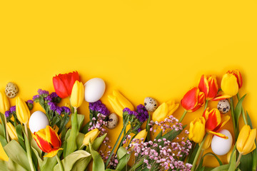 Springtime season greeting card - happy easter concept - multicolored tulips and eggs on bright yellow background, copy space, sale, discount, celebrate banner