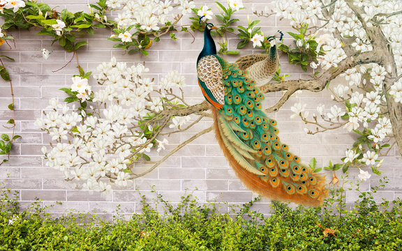 3D flower peacock round background wall