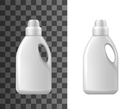 Detergent bottles mockup, isolated 3d vector white blank realistic plastic bottle. Household chemicals tube for cleaning with handle, liquid soap, stain remover, laundry bleach or cleaner