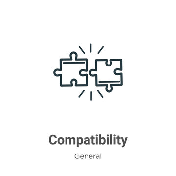 Compatibility outline vector icon. Thin line black compatibility icon, flat vector simple element illustration from editable general concept isolated stroke on white background