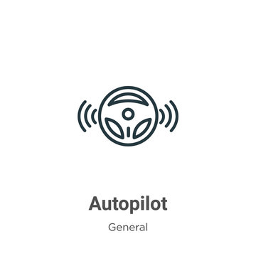 Autopilot outline vector icon. Thin line black autopilot icon, flat vector simple element illustration from editable general concept isolated stroke on white background