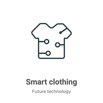 Smart clothing outline vector icon. Thin line black smart clothing icon, flat vector simple element illustration from editable future technology concept isolated stroke on white background