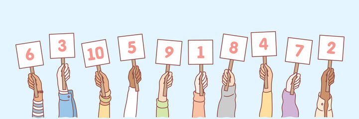 Hands with numbers set concept. Collection of men and women hands holding cards with numbers in random order. Amount of scores in competition or tournament. Votes of judges. Simple vector illustration