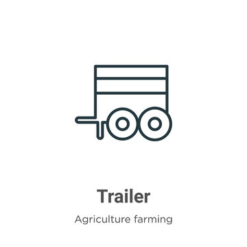 Trailer outline vector icon. Thin line black trailer icon, flat vector simple element illustration from editable farming and gardening concept isolated stroke on white background