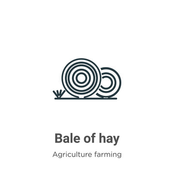 Bale of hay outline vector icon. Thin line black bale of hay icon, flat vector simple element illustration from editable farming and gardening concept isolated stroke on white background
