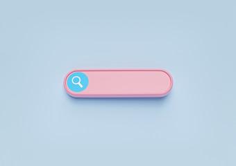 Fototapeta minimal blank search bar on pastel blue background. web search concept. 3d rendering obraz