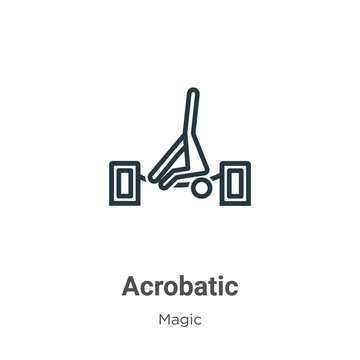 Acrobatic outline vector icon. Thin line black acrobatic icon, flat vector simple element illustration from editable magic concept isolated stroke on white background