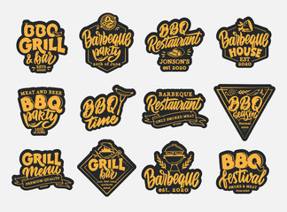 Set of BBQ stickers, patches. Color badges, emblems, stamps on white background isolated.