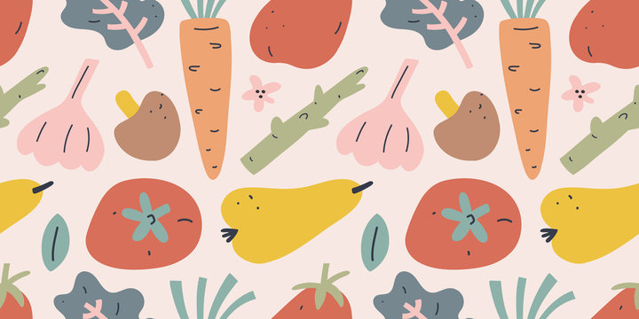 Fruit and vegetable pattern, seamless vector background, tomato, pear and carrot with garlic. Trendy flat hand drawn art in earthy colors, ornament for kitchen textile,