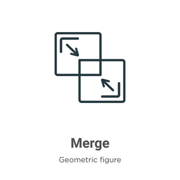 Merge outline vector icon. Thin line black merge icon, flat vector simple element illustration from editable geometric figure concept isolated stroke on white background