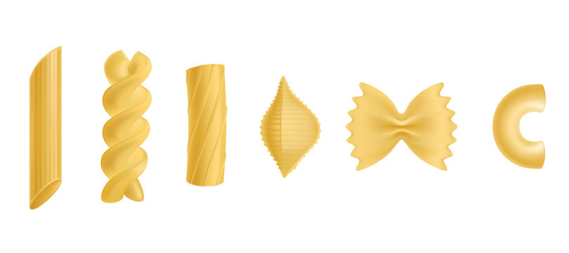 Pasta and macaroni set, dry penne, fusilli, rigatoni, conchiglie, farfalle, chiferri isolated on white background, design elements for food advertising Realistic 3d vector illustration, icon, clip art
