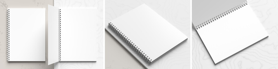 Photo sur Aluminium Spirale A4 format spiral binding notebook mock up on white marble background. Realistic notebook mock up rendered with three different angles. 3D illustration.