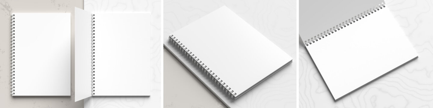 A4 format spiral binding notebook mock up on white marble background. Realistic notebook mock up rendered with three different angles. 3D illustration.