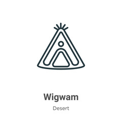 Wigwam outline vector icon. Thin line black wigwam icon, flat vector simple element illustration from editable desert concept isolated stroke on white background