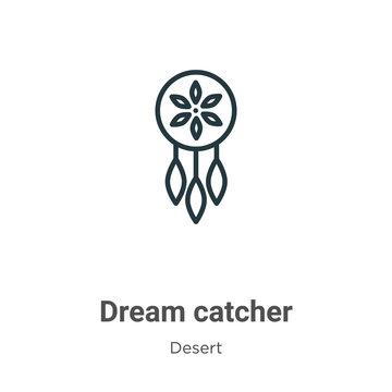 Dream catcher outline vector icon. Thin line black dream catcher icon, flat vector simple element illustration from editable desert concept isolated stroke on white background