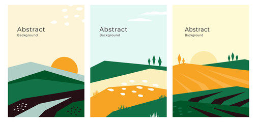 Vector illustrations with farm land, nature, agricultural landscape. Banners with agriculture or farming concept. Set of abstract backgrounds. Design template for flyer, poster, book or brochure cover Fotomurales