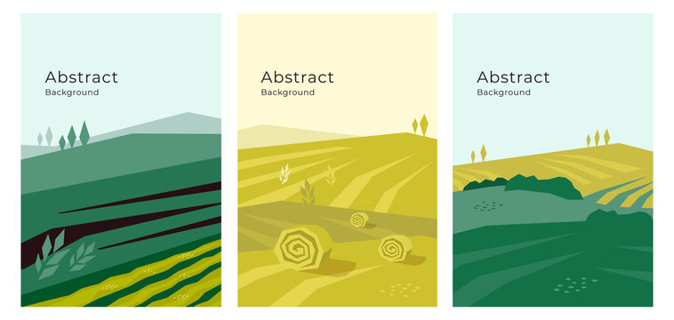 Vector illustrations of landscape, cultivated farm land, nature. Banners with agriculture or farming concept. Set of agricultural backgrounds. Design template for flyer, poster, book or brochure cover