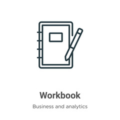 Workbook outline vector icon. Thin line black workbook icon, flat vector simple element illustration from editable business concept isolated stroke on white background
