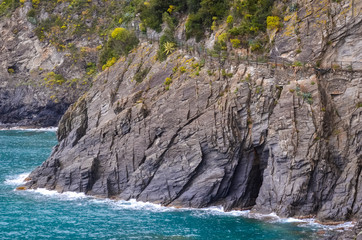 sea and rocks in the coasts of Italy near Cinque Terre