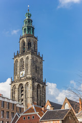 Fotomurales - Martini tower and old houses in the center of Groningen, Netherlands