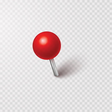 Pin with shadow isolated on transparent background. Vector red plastic pushpin, 3d board tack or sewing needle template..