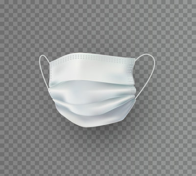 Mask isolated on transparent background. Vector white medical doctor, surgical, safety breathing element mockup. 3d virus, dust or pollution air face protection..