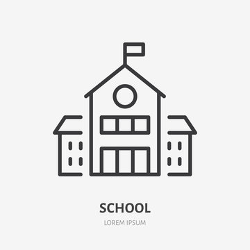 School building line icon, vector pictogram of college or university. Education illustration, sign for schoolhouse exterior