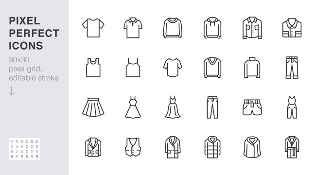 Clothing line icon set. Dress, polo t-shirt, jeans, winter coat, jacket pants, skirt minimal vector illustrations. Simple outline signs for fashion application. 30x30 Pixel Perfect. Editable Strokes