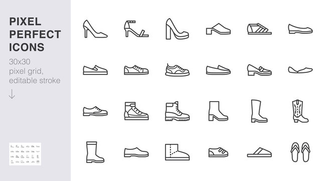Shoe line icon set. High heels sandal, cowboy boots, hiking footwear, sneakers, slipper minimal vector illustrations. Simple outline signs for fashion application. 30x30 Pixel Perfect Editable Stroke