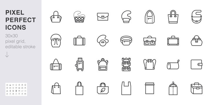 Bags line icon set. Purse types - tote, briefcase, fanny pack, shopper, luggage, plastic bag minimal vector illustrations. Simple outline signs for fashion app. 30x30 Pixel Perfect. Editable Stroke