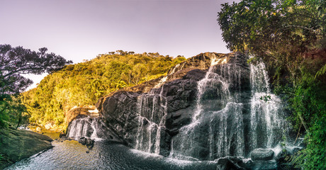 Wall Mural - Panoramic view at Bakers Fall in Horton Plains National Park in Sri Lanka