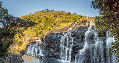 Wall Mural - Panoramic view at Bakers Fall in National Park Horton Plains in Sri Lanka