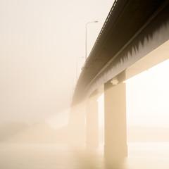 Vanishing bridge in mist, Sweden
