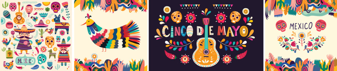 Beautiful vector illustrations with design for Mexican holiday 5 may Cinco De Mayo. Vector template with traditional Mexican symbols skull, Mexican guitar, flowers, red pepper. Mexico illustrations Wall mural
