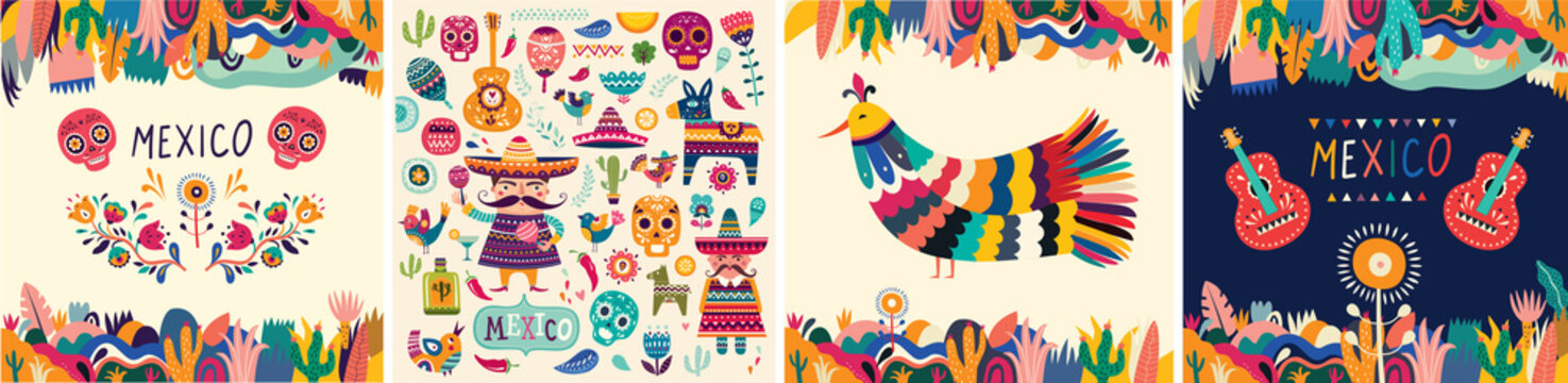 Beautiful vector illustrations with design for Mexican holiday 5 may Cinco De Mayo. Vector template with traditional Mexican symbols skull, Mexican guitar, flowers, red pepper. Mexico illustrations