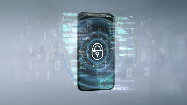 Security data and smartphone security - 3d rendering