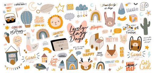 Obraz Cute kids scandinavian characters set including trendy quotes and cool animal decorative hand drawn elements. Cartoon doodle  illustration for baby shower, nursery room decor, children design. Vector. - fototapety do salonu