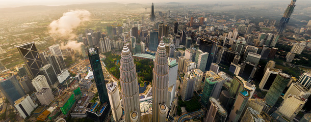 KUALA LUMPUR, March 9, 2020: Aerial view of Petronas Twin Towers. Downtown of Kuala Lumpur, Malaysia. Financial and business centre of the metropolis, Kuala Lumpur, Malaysia.