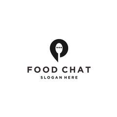 chat food logo icon design vector